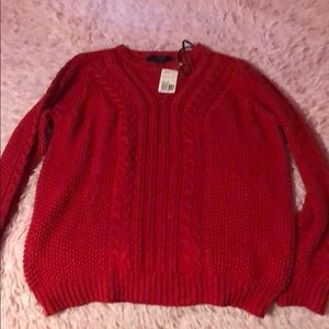 NWT Red Cable Knit Sweater (L)